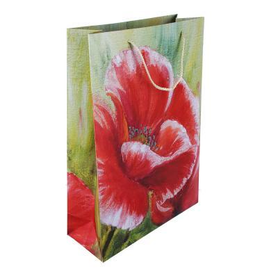 507-946 Пакет подарочный, высококачественная бумага, 31х44х12 см, цветные узоры, 4 цвета