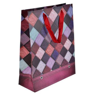507-947 Пакет подарочный, высококачественная бумага, 26х32х10 см, ромбы, 4 цвета
