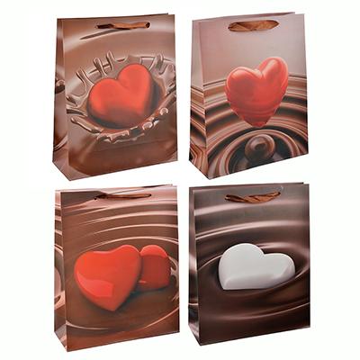 507-948 Пакет подарочный, высококачественная бумага, 26х32х10 см, сердце в шоколаде, 4 цвета