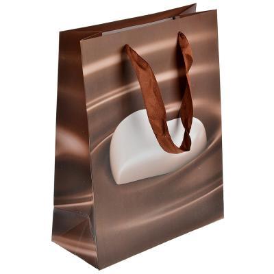 507-949 Пакет подарочный, высококачественная бумага, 18х24х8,5 см, сердце в шоколаде, 4 цвета