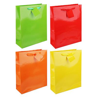 507-951 Пакет подарочный однотонный, высококачественная бумага, 26х32х10 см, 4 цвета