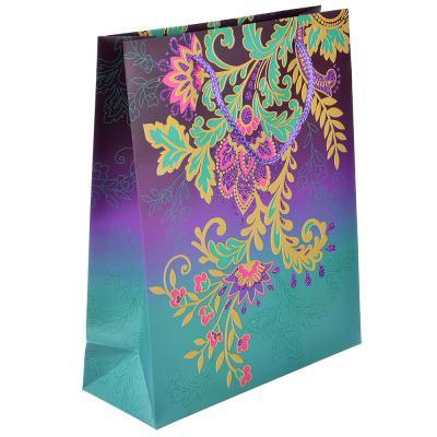 507-956 Пакет подарочный, высококачественная бумага с фолдингом, 26х32х10 см, узоры, 4 цвета