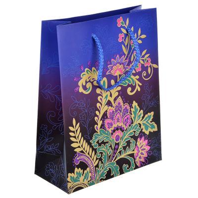 507-957 Пакет подарочный, высококачественная бумага с фолдингом, 18х23х8 см, узоры, 4 цвета
