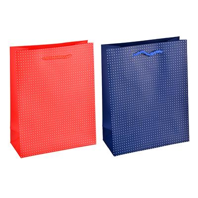 507-961 Пакет подарочный, высококачественная бумага с фолдингом, 18х23х8 см, красный и синий, 2 цвета