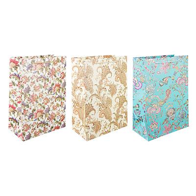 507-962 Пакет подарочный, высококачественная бумага с фолдингом, 26х36х14 см, узоры, 3 цвета
