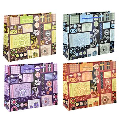 507-964 Пакет подарочный, высококачественная бумага с глиттером, 32х26х10 см, орнаменты, 4 цвета