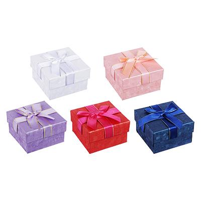 207-021 Коробка подарочная с бантом, 7,5х7,5х4,5 см, 5 цветов