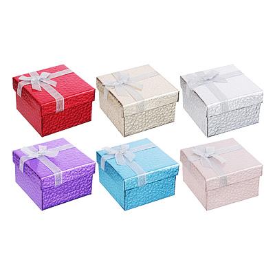 207-022 Коробка подарочная с бантом, блеск, 8,5х8,5х5,5 см, 6 цветов