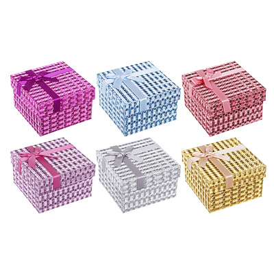 207-023 Коробка подарочная, с бантом, 8,5х8,5х5,5 см, 6 цветов