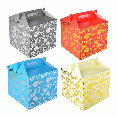 207-027 Коробка подарочная складная с ручками, с фольгированным слоем, бумага, 4 цвета, 28х28х26см
