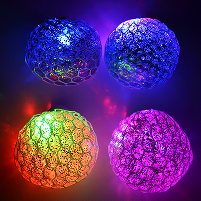 297-045 Мялка с блестками, свет, полимер, 6см, 2-4 цвета