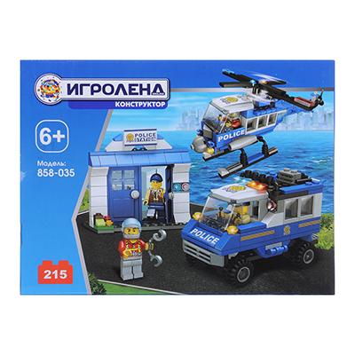 858-035 ИГРОЛЕНД Город Конструктор Полицейский вертолет, 215дет., пластик, 20х15х5см