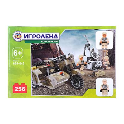 858-042 ИГРОЛЕНД Армия Конструктор Мотоцикл с военными, 256дет., пластик, 28х18х4см