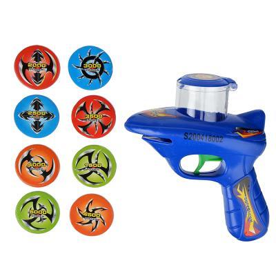 261-672 Пистолет, стреляющий дисками, пластик, 14,5х20х5см