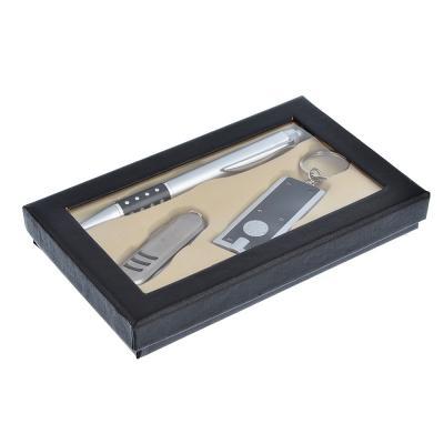 628-005 Набор 3 пр.: ручка шариковая синяя, фонарик, нож с ножницами, 15,8х9,4х2см, пл., металл,в подар.кор.