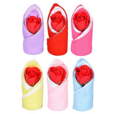 412-019 Салфетки подарочные с мыльной розой, 2 по 20х20 , микрофибра, 13х6х6 см, 6 цветов