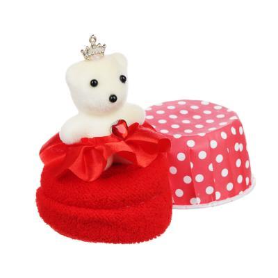 412-022 Салфетка подарочная с сувенирным мишкой, 20х20, микрофибра, полиэстер, 10,8х6,5х6,5 см, 6 цветов