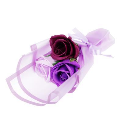 412-024 Ароманабор из мыльных лепестков в виде букета из роз, 25,5х8х8 см, 4 цвета