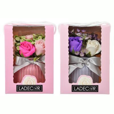 412-027 Ароманабор из мыльных лепестков в виде букета в вазочке, подар.коробка, 15х14,5х20 см, 2 цвета