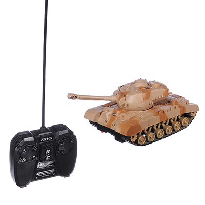 293-024 ИГРОЛЕНД Танк на радиоуправлении, движение, свет, звук, пластик, 4+2 АА,24,5х12,5х14 см