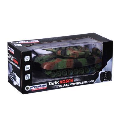 293-025 ИГРОЛЕНД Танк радиоуправляемый, движение, свет, звук, пластик, аккум в компл., 34,5х14,8х14,8см
