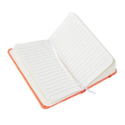 574-019 Записная книжка 9х14 см, 80 л., тв.обложка, клетка, ПУ под кожу рептилии, бумага, 4 неоновых цвета