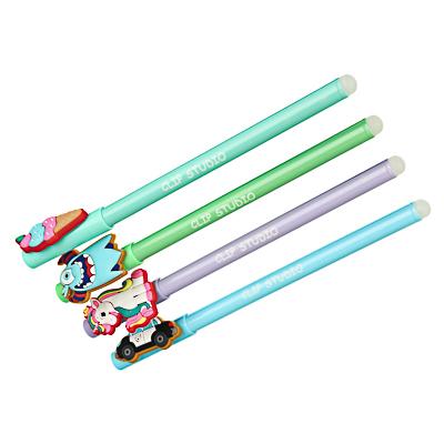 622-009 Ручка гелевая пиши-стирай 0,7 мм, синяя, 4 цвета, 4 вида колпачка
