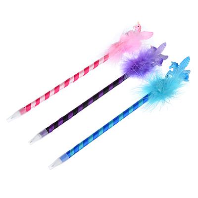 622-012 Ручка шариковая синяя, с фигуркой единорога, 0,7мм, корпус обтянут тканью, пластик, 3 цвета