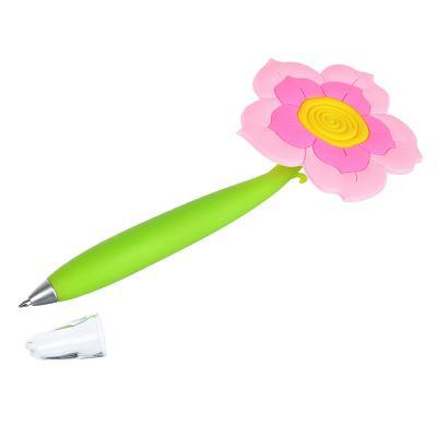 """622-014 Ручка шариковая синяя """"Цветочный микс"""", 0,7мм, пластик, каучук, 4 дизайна"""