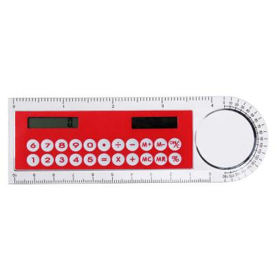 580-003 Калькулятор-линейка 8-разр.с лупой и транспортиром, солн.питание, 4,5х13,3см, 4 цвета