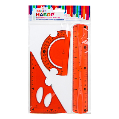 612-009 Набор геометрический гибкий (линейка, угольник, транспортир), пр.цветной, ПВХ, 4 цвета