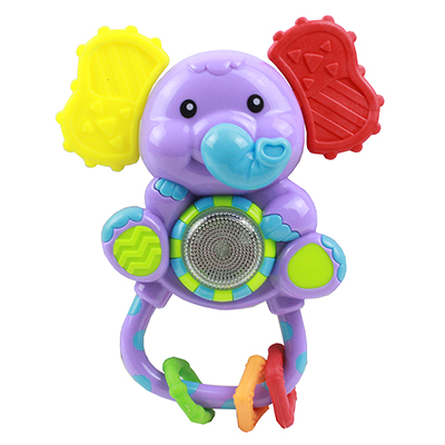 272-639 ИГРОЛЕНД Игрушка электронная музыкальная погремушка в виде слоника, пластик, 2АG13, 17х8х4см