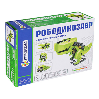"C03-001 ИГРОЛЕНД Конструктор робототехника ""Рободинозавр"", 1ААА, пластик, 23-24х5,5-6,7х18,2-19см"