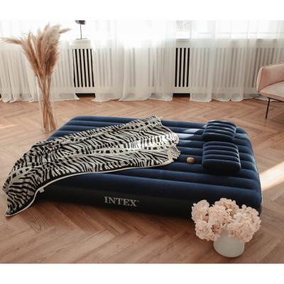 """108-046 Кровать надувная, ручной насос, 2 подушки, FIBER-TECH, 152х203х25 см, INTEX """"Classic downy Квин"""", 64"""