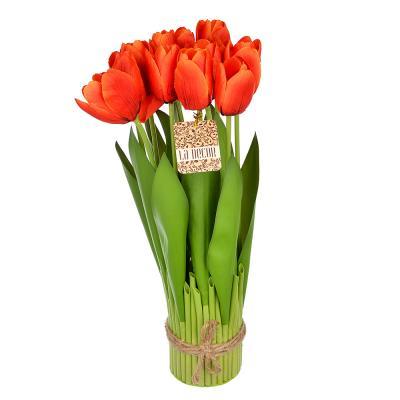 501-457 Цветок искусственный декоративный в виде тюльпанов, 37х7 см, пластик, 5 цветов