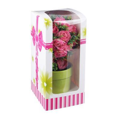 501-458 Цветок искусственный декоративный в горшке, в виде розы, 23,5х11х11 см, пластик, керамика, 3 цвета