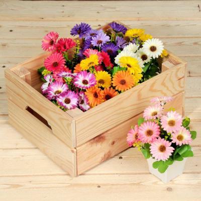 501-461 Цветок искусственный декоративный в горшке в виде маргариток, 17х8х8 см, пластик, 4 цвета