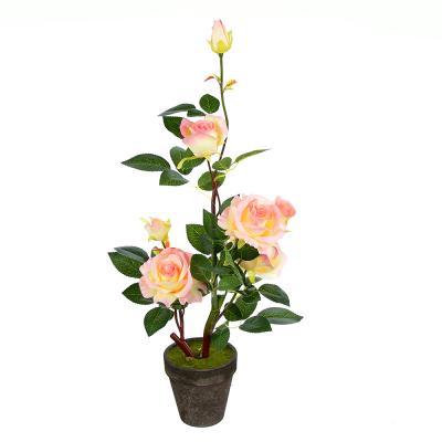 501-462 LADECOR Цветок искусственный декоративный в горшке в виде роз, 63х11,5см, пластик,керамика, 2цвета
