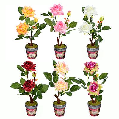 501-463 LADECOR Цветок искусственный декоративный в горшке в виде роз, 35х8 см, пластик, керамика, 6 цветов