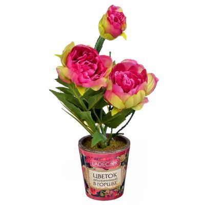 501-464 LADECOR Цветок искусственный декоративный в горшке в виде пиона, пластик, керамика, 34х8 см, 4 цвета