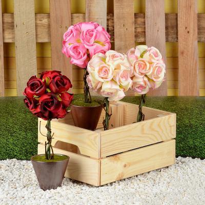 501-466 Цветок искусственный декоративный в горшке в виде розы, пластик, керамика, 31х10 см, 4 цвета