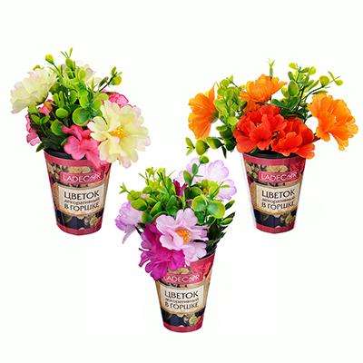501-468 LADECOR Цветок искусственный декоративный в горшке, пластик, 22х8 см, 3 цвета