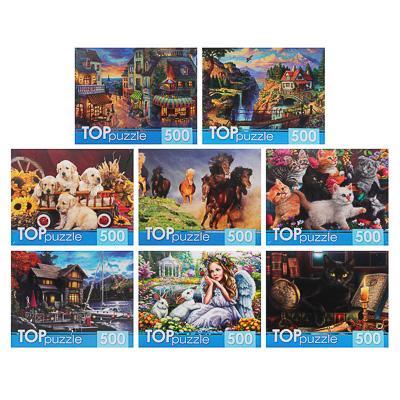 898-014 РЫЖИЙ КОТ Пазлы 500 деталей, картон, 19х15х6,5см, 10 дизайнов