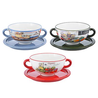 """824-028 Набор посуды для бульона 2 предмета, керамика, 3 дизайна, MILLIMI """"Кулинария"""""""