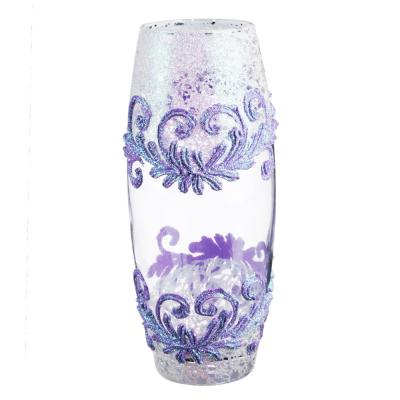 502-703 PASABAHCE Ваза стеклянная, ручная роспись, с узорами, 25х11 см, 2 дизайна