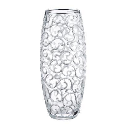 502-704 PASABAHCE Ваза стеклянная, ручная роспись, вензеля, 25х11 см, 2 дизайна