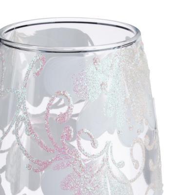 502-705 PASABAHCE Ваза стеклянная, ручная роспись, с цветами, 25х11 см, 2 дизайна