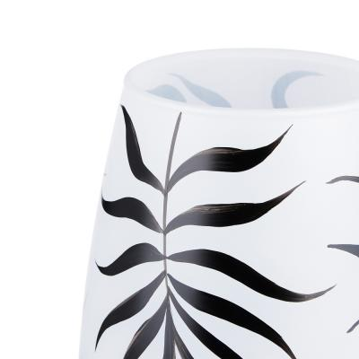 502-707 PASABAHCE Ваза стеклянная, ручная роспись, белая с рисунками, 26х11 см, 2 дизайна