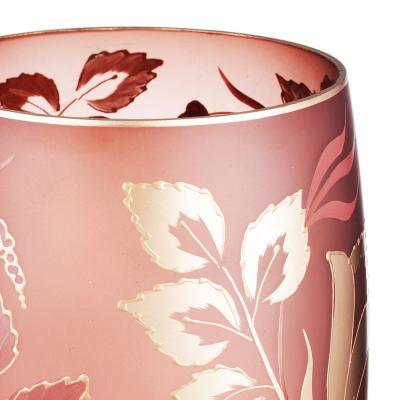 502-711 Ваза стеклянная, ручная роспись, 30х14 см, 2 дизайна