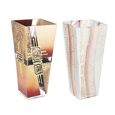502-712 Ваза стеклянная, ручная роспись, квадратная, 25х12 см, 2 дизайна